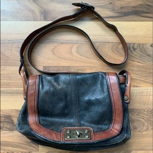 Vintage Distressed Leather Fossil Crossbody